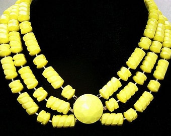 """Yellow Bead Necklace Choker 3 Strands Textured Lucite Fancy Clasp Gold Metal 17"""" Vintage"""