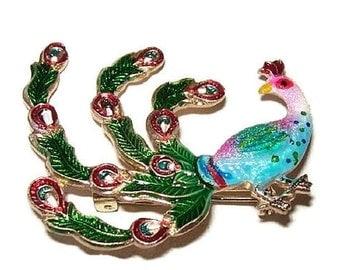 "Brooch Pin Peacock Bird Colorful Enamel Paint Blue Pink Gold Metal 1 3/4"" Vintage"