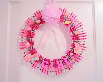 CRAYON Wreath / Pink Wreath / Children's Room Decor / Teachers Wreath /  Birthday Girl/ Custom Pink