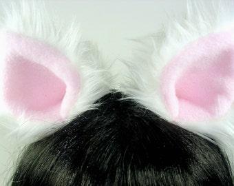 Whit Cat Ears-  Halloween- Costume- Cosplay- Animal Costume- Faux Fur- Furries - Anime- Cat Costume- Pink-harajuku