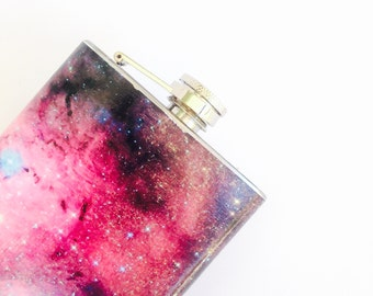 Galaxy hip flask, space flask, 6 oz hip flask, custom flask, cool flask for women, Milky Way flask, universe hip flask, bridesmaids flask