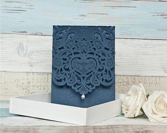 Navy Laser Cut Wedding Invitations. Pocket Style Wedding Invitation. Pearl Detail.  Rustic Wedding. Laser Cut. Navy and Pearl Wedding.