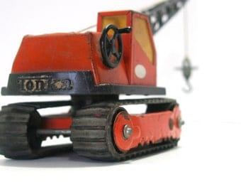 Vintage Chippy Rusty TONKA Orange CRANE Track Excavator Rubber Pressed Steel