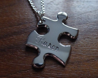 Personalised Silver Puzzle Pendant Necklace 3