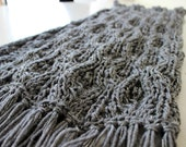 Knit scarf. Handmade Grey and silver cowl. Chunky  and cozy. Bug brooch included. Gift for her. Cowl scarf.