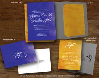 JESSICA (Watercolor) Invitation Suite Printables