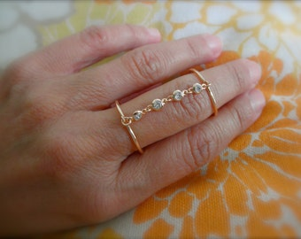 CZ chain double ring  - adjustable double ring  - cz charms double ring - silver - gold - rose gold double ring