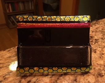 Fused Glass business card holder - Dicroic red