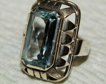 VINTAGE AQUA BLUE Gem Ring Sterling c1968