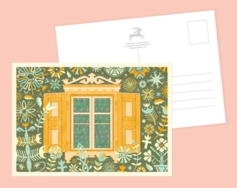 Garden Window Postcard or Postcard Set - Inspired by Lithuania Series