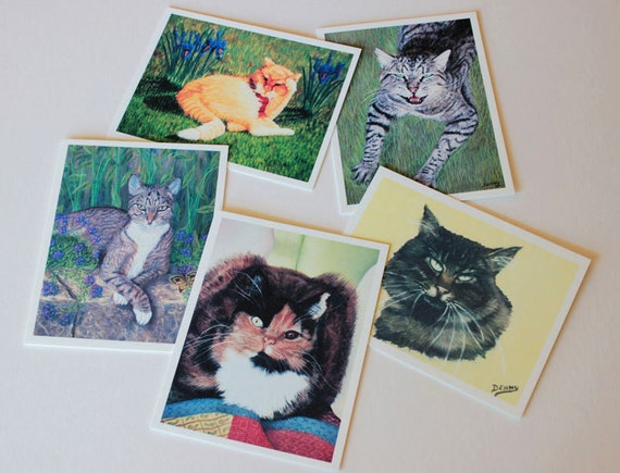 Cat art, Fine Art Greeting Card Set, box of 10 w/envelopes, Blank Greeting Cards, Cat paintings, note cards, gift for cat lovers