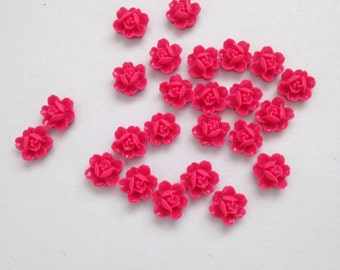 SALE // 24 x Cerise deep pink resin rose cabochons 11mm