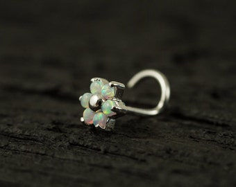 White Opal Gems flower nose stud/nose ring/nose screw