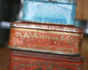 Tin Boxes, Tobacco, Ginger, Orange, Blue, Storage, Office, Organization,  Home Decor,Home Decor, Fall Decor,