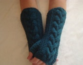 Gloves Knit.Teal Wool.Fingerless Gloves.Arm/Wrist Warmers Pacific  Teal Warm Winter  Arm  Warmers Driving Girls women gift