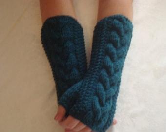 Gloves Knit.Teal Wool.Fingerless Gloves.Arm/Wrist Warmers Pacific  Teal Warm Winter  Arm  Warmers Driving Girls women gift