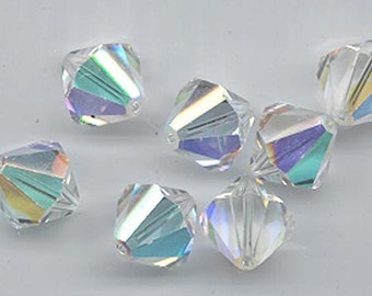 Eight  vintage Swarovski crystal beads - Art. 364/5301 - 12 mm - crystal AB