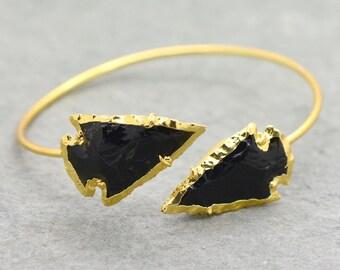 Expandable Obsidian Arrowhead Bangle Bracelet - 24K Gold Plated Edge and Bangle Gemstone Bead - Arrow head Charm Indian