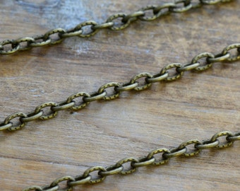 Iron Necklace or Bracelet Chain, Antique Bronze Chain, 2.5mm Thick Chain, Jewelry Chain Bracelet Chain Jewelry Supplies (EA027)