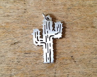 1 - Small Cactus Charm Brushed Stainless Steel Cactus Jewelry Desert Pendant (AQ025)