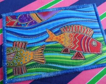 Quilted  Postcard - Laurel Burch Postcard - Handmade  Postcard - Fabric  Postcard - Patchwork  Postcard - Artist Postcard - Birds Post Card