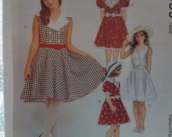 McCall's Sewing Pattern 7559 - Girl's Dress and Petticoat- Swing, Church, Rockabilly, Costume - Size 7-10  UNCUT
