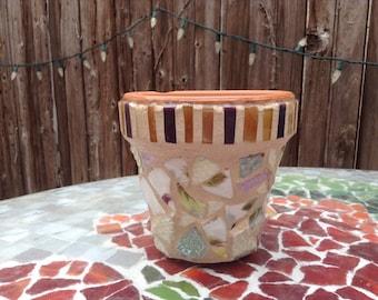 Upcycled mosaic flower pot