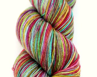 """Kettle Dyed Sock Yarn, Superwash Merino, Silk and Cashmere Fingering Weight, in """"Giverny"""""""