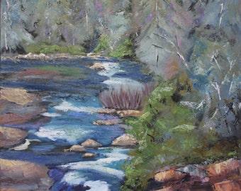 Blue Ridge Mountain River Scene/ 24 x 30 / Original Oil Painting/ North Carolina