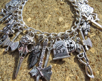 SPOOKY Gothic Halloween Themed Charm Bracelet ooak
