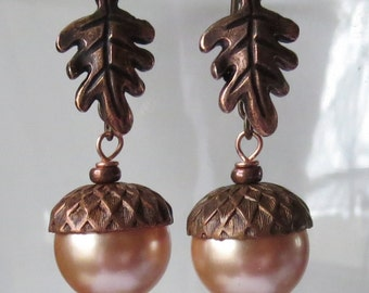 Rose Peach Acorn Earrings with Rosy Copper Caps and Oak Leaves