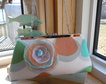 Caramel, Aqua, Green Wedding Clutch, Bridesmaids Clutch, Mother of the Bride Clutch, Coastal Colors Clutch