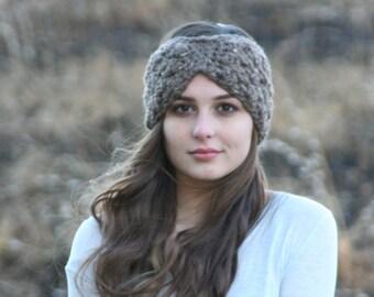 Headband Turban Style Earwarmer Crochet Chunky Textured Bow Style Headband in Barley