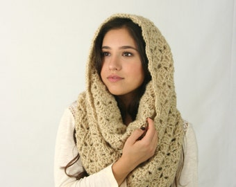 Chunky Cowl Scarf / The Rochdale / Crochet Loop Scarf  Circle Scarf Camel