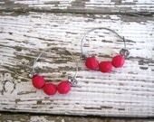 Beaded Hoop Earrings : Fuchsia Czech Glass Jewelry