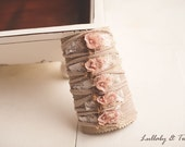 Tan & Pink stretch knit floral tieback Newborn headband photography prop