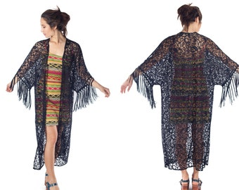 black lace kimono duster fringe cardigan floor length jacket festival resort wear boho kimono gypsy open front draping maxi sweater S M L