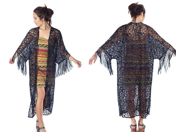 black lace kimono duster fringe cardigan floor length jacket festival resort wear boho kimono gypsy open front draping maxi sweater S M L
