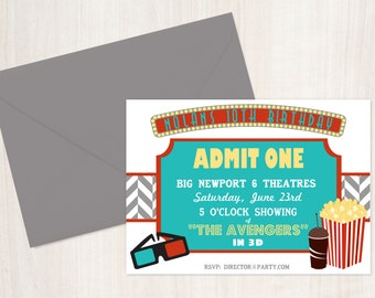 Movie Theater Party Invitation - Cinema and Theatre - Party Supplies
