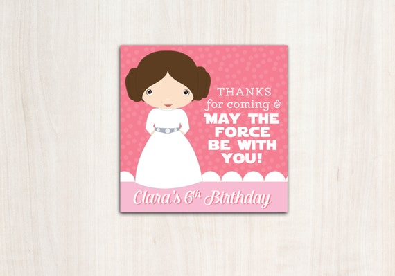 Leia Favor Tags - Princess Wars Thank You Tags - Star Wars - Party Supplies