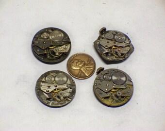 4 vintage mens wrist watch movements 4 tick E-384