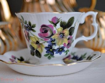 Royal Albert Floral Teacup and Saucer, English Bone China Tea Cup Set, ca. 1970-1980