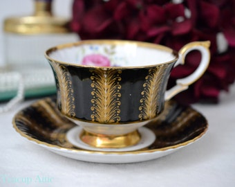 ON SALE Paragon Black And Gold SD Pattern Teacup and Saucer Set, English Bone China, Elegant Tea Party, Cabinet Collection,  ca. 1963