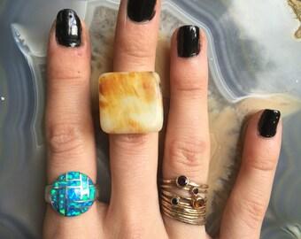 Handcrafted Ocean Jasper Square adjustable statement ring