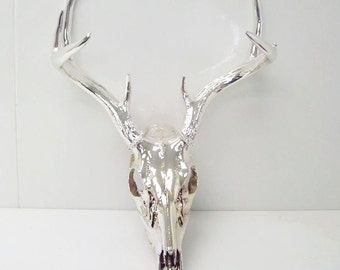 Chrome Deer Skull Taxidermy  Antler - Very Unique Art Sculpture CUSTOM ORDER