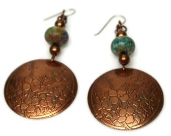 Copper earrings, garden earrings, etched earrings, green earrings, gift for her, gift for wife, gift for birthday, mother's day gift