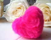 Valentine's Heart Decoration. 1402. Merino Wool. Bright Pink. Silver or Gold loop. Wedding. Baptism. Christening. Baby Shower. Party favour.