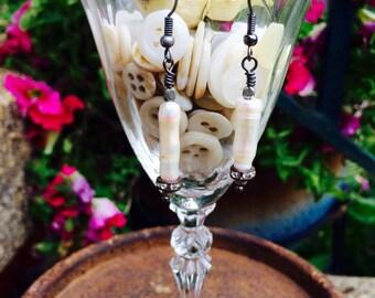 Freashwater Pearl, Earrings, stick Pearl & Rhinestone Earrings By: Kari Wolf Designs