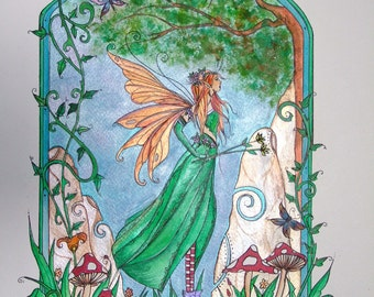 A fairy art print 'Summer Fae' by Andrea Child