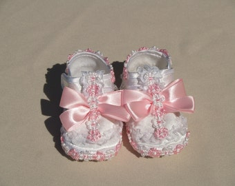 Baby Girls Shoes white Pink Size 1 to 3, White Satin, Baby Pink Flowers, Ruffles, Mary Jane, Christening, Baptism, Presentation, Baby Gift